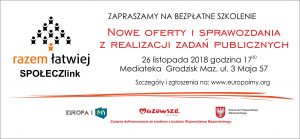 Szkolenie dotyczące nowych wzorów ofert realizacji zadań publicznych @ Mediateka  | Grodzisk Mazowiecki | mazowieckie | Polska