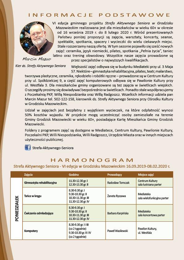 Folder informacyjny o organizacji działań Strefy Aktywnego Seniora wraz z harmonogramem