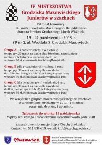 IV Mistrzostwa Grodziska Maz. Juniorów w szachach @ Szkoła Podstawowa nr 2