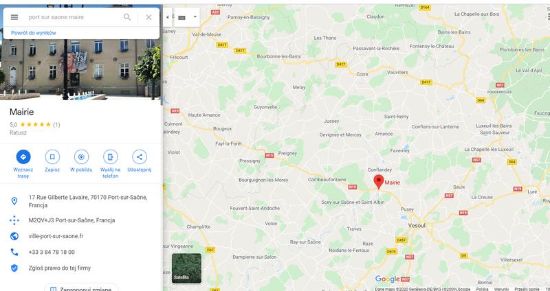 Mapa okolic Port-sur-Saone, zdjęcie urzędu miasta od frontu.