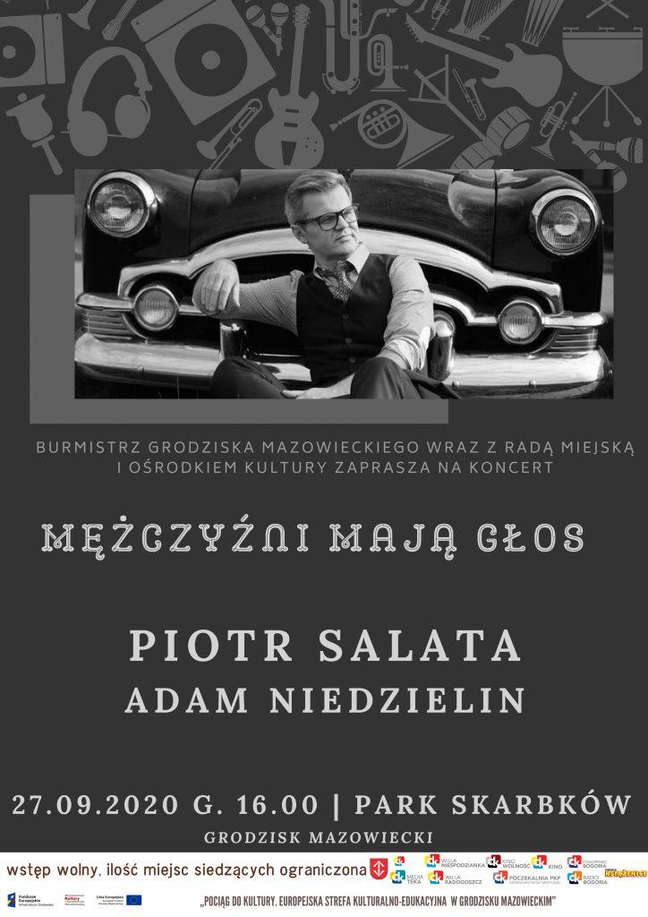 Plakat z zaproszeniem  na koncert, na tle maski samochodu z lat 50, wokalista, Piotr Salata