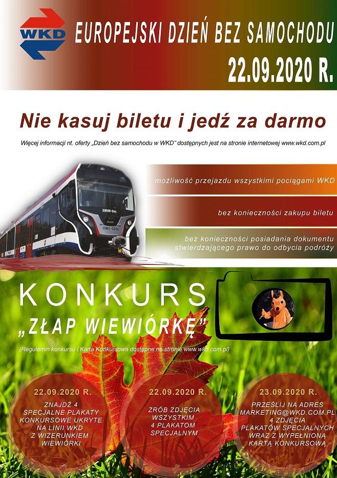 """Plakat reklamujący Europejski Dzień Bez Samochodu oraz konkurs """"Złap Wiewiórkę"""""""