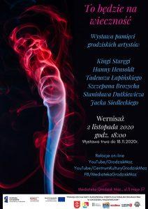 Plakat informujący o wystawie prac grodziskich artystów.