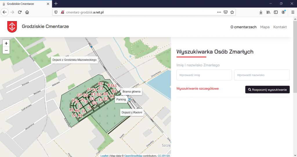 ekran pokazujący, jak działa program wyszukiwania grobów