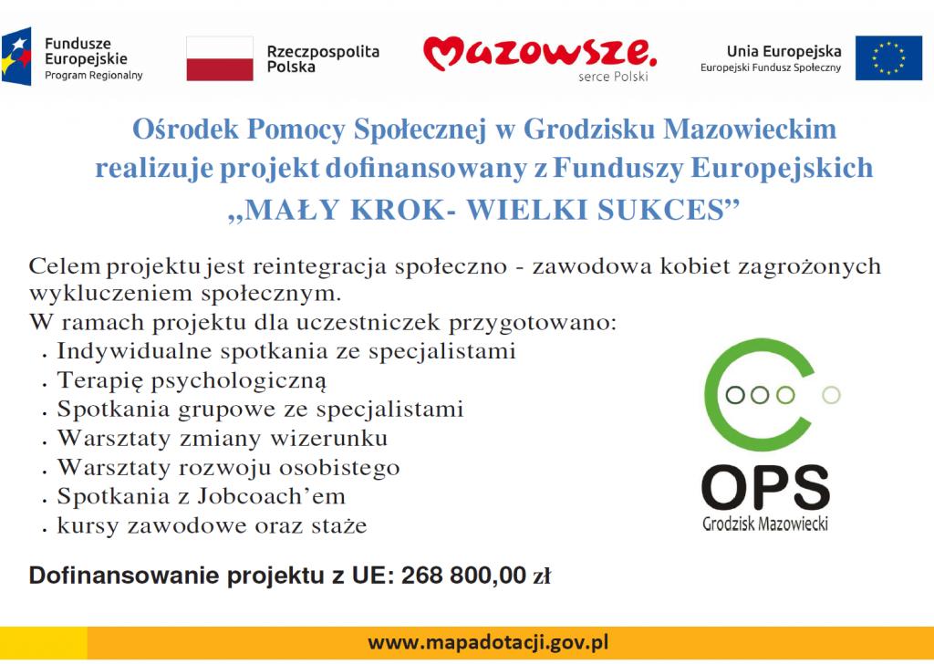 Plakat informujący o projekcie Mały Krok - Wielki Sukces