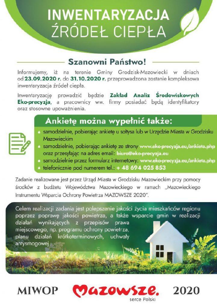 Plakat informujący o inwentaryzacji ciepła na terenie gminy