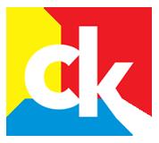 Logo Centrum Kultury, na kwadratach żółtym, czerwonym i niebieskim, białe litery CK