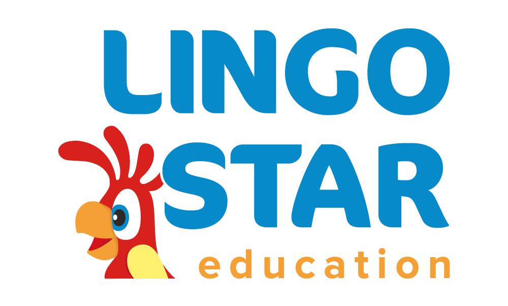 Logo szkoły językowej Longo Star, z głową czerwonej papugi