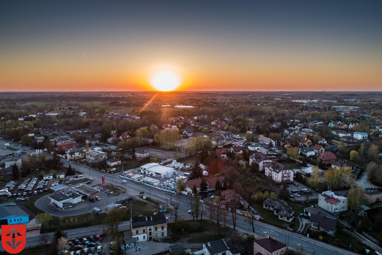 Widok na miasto z drona
