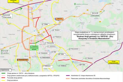 Mapa poglądowa przebiegu ulicy Akacjowej