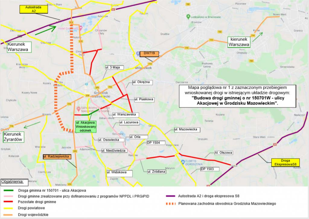 Mapa poglądowa z zaznaczonym przebiegiem ulicy Akacjowej.