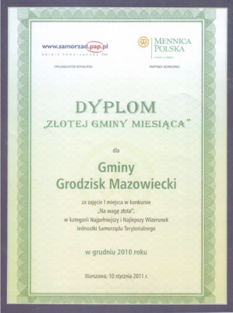 Dyplom Gmina na Wagę Złota