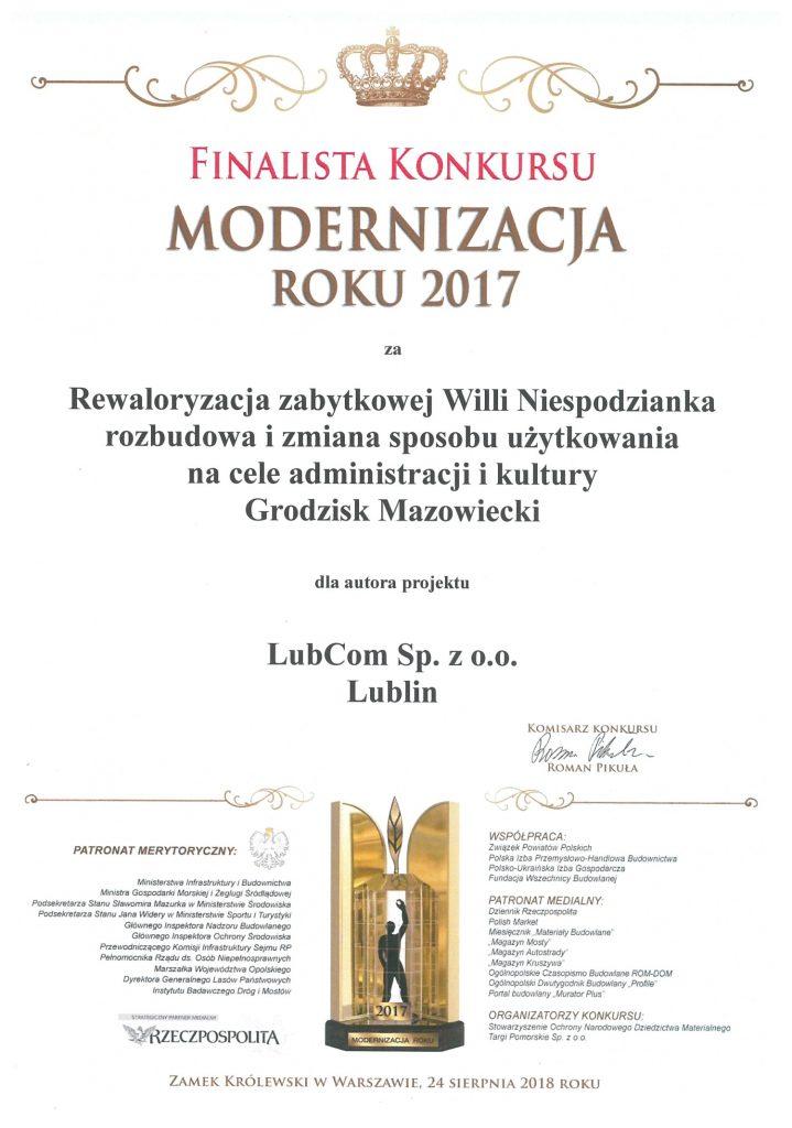 Dyplom Modernizacja roku 2017
