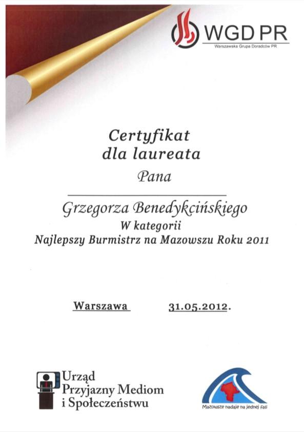Certifikat najlepszego burmistrza