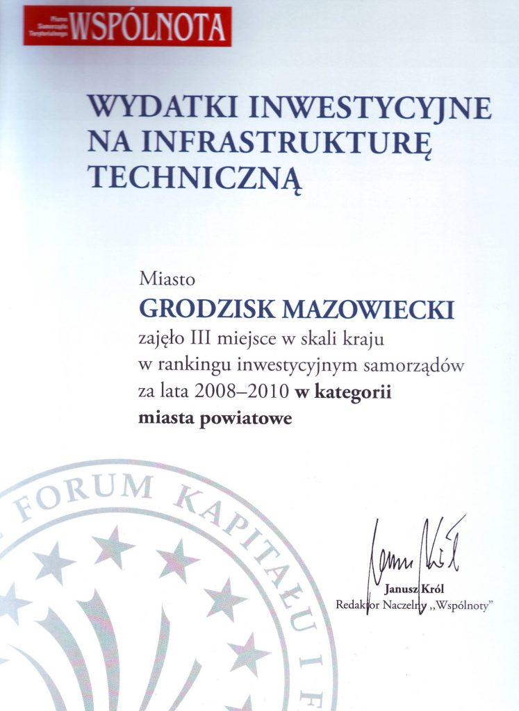 Dyplom za inwestycje