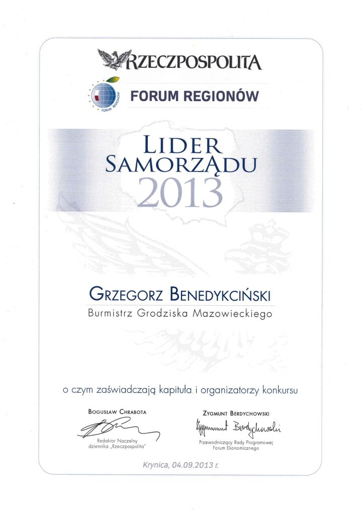 Dyplom Lider Samorządu 2013