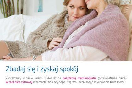 Plakat z informacją o mammografi