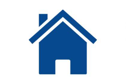 ikonografika przedstawiająca dom w kolorze ciemnoniebieskim na białym tle