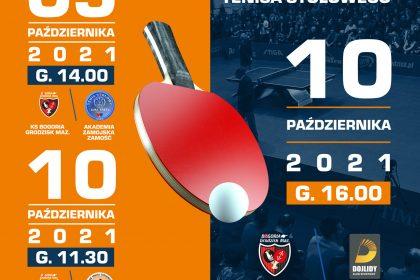 Plakat meczu ping ponga w ten weekend